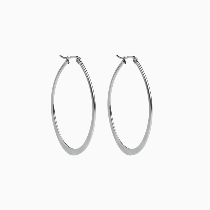 Oval Hoop Earrings Silver