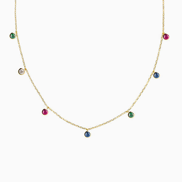 Iconic Multicolor Zirconia Gold Pendant