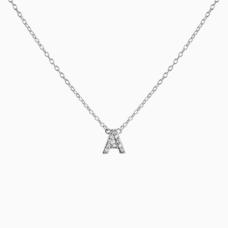 Necklace Fixed Initial Zirconia Silver