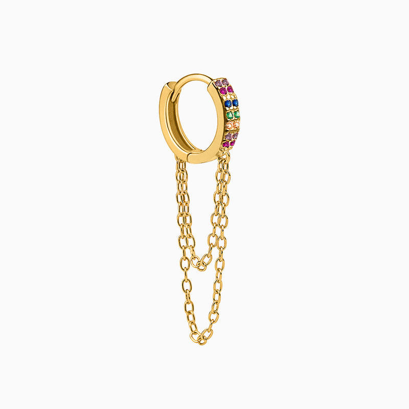 Multicolor Zirconias Muse Gold Ring Piercing