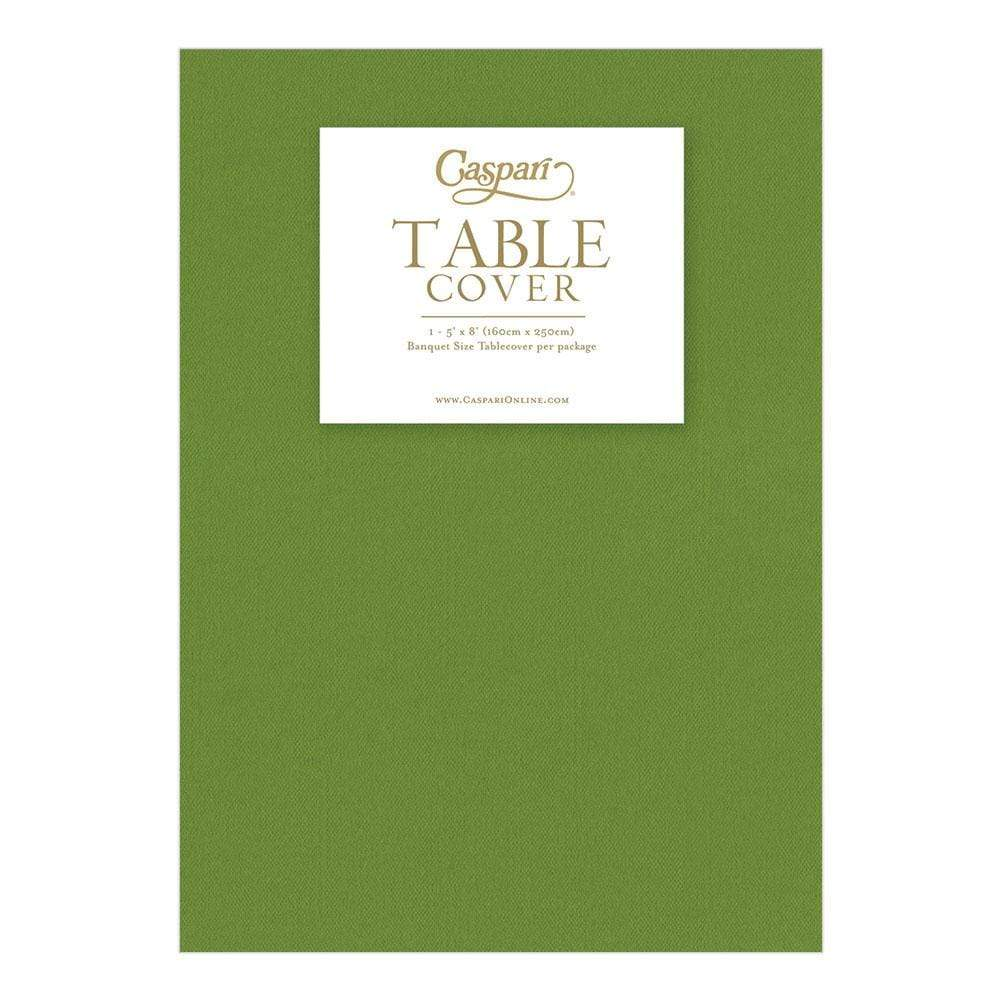 Caspari Paper Linen Solid Table Cover in Moss Green - 1 Each