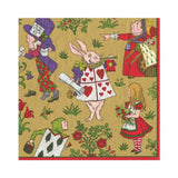 Caspari Alice in a Winter Wonderland Paper Luncheon Napkins in Gold - 20 Per Package