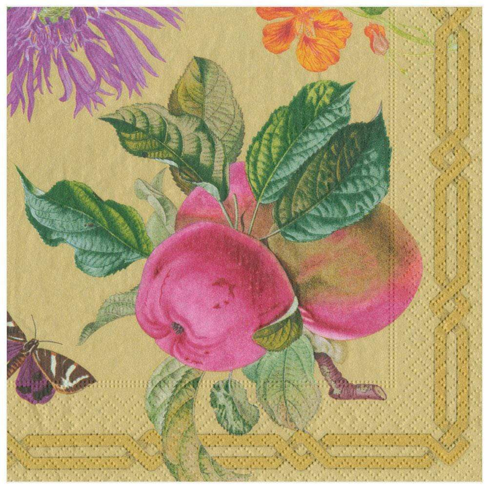 Caspari Découpage Garden Paper Dinner Napkins in Gold - 20 Per Package