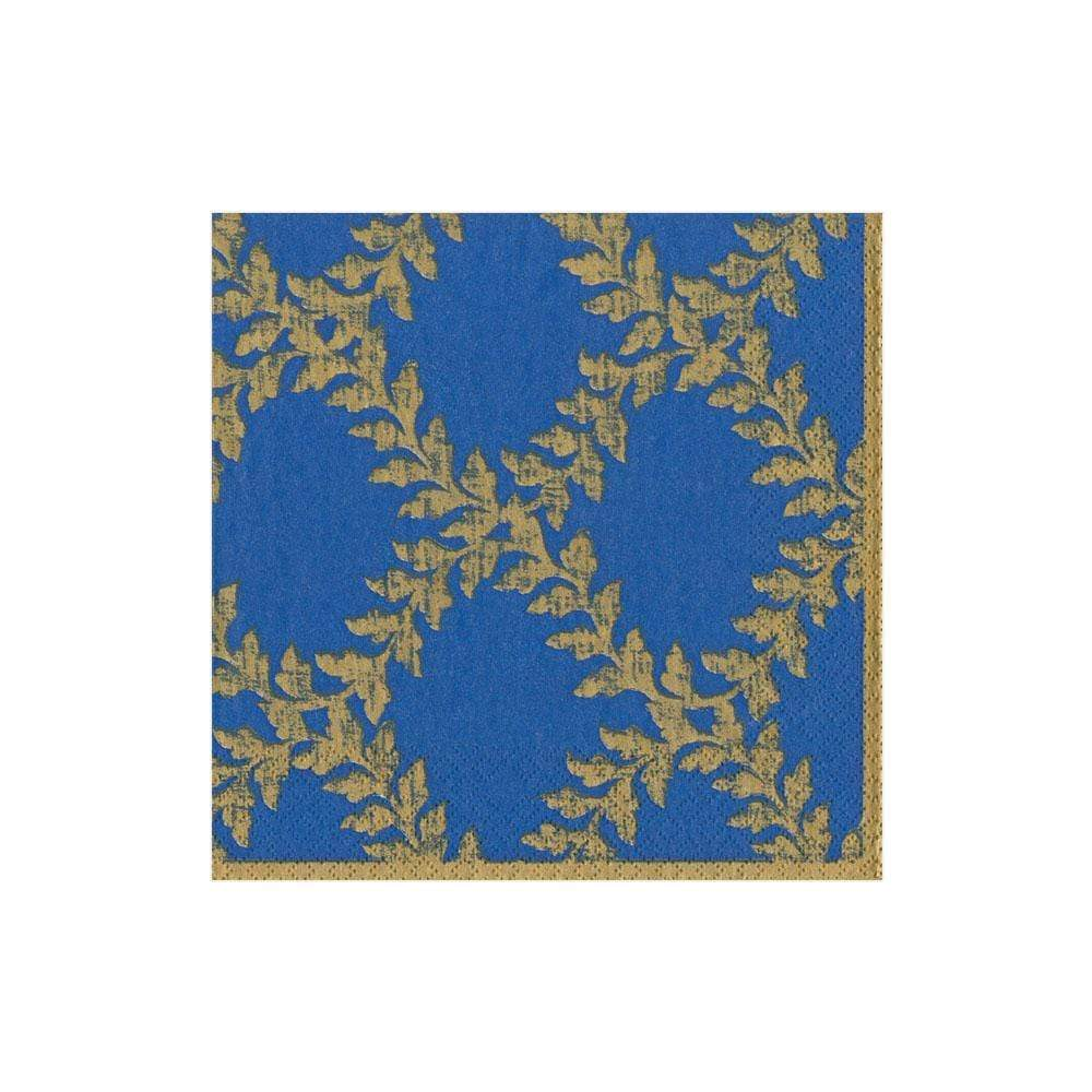 Caspari Acanthus Trellis Paper Cocktail Napkins in Blue - 20 Per Package