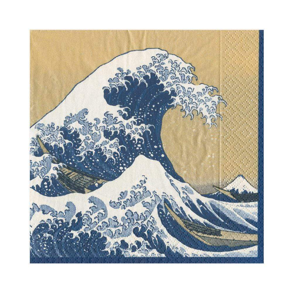 Caspari The Great Wave Paper Luncheon Napkins in Gold - 20 Per Package