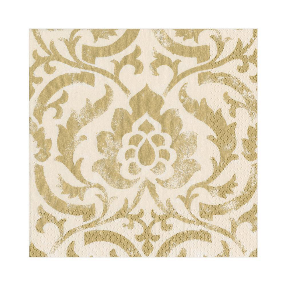 Caspari Baroque Paper Luncheon Napkins in Ivory - 20 Per Package
