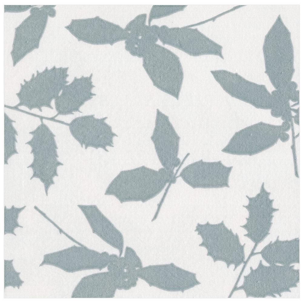 Caspari Holly Silhouettes Paper Linen Dinner Napkins in Ivory & Silver - 12 Per Package