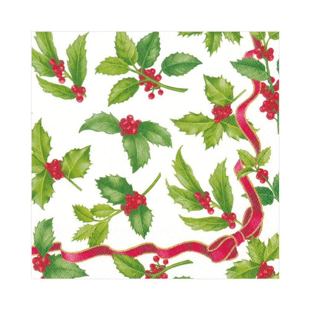 Caspari Holly Toss Paper Luncheon Napkins in Ivory - 20 Per Package
