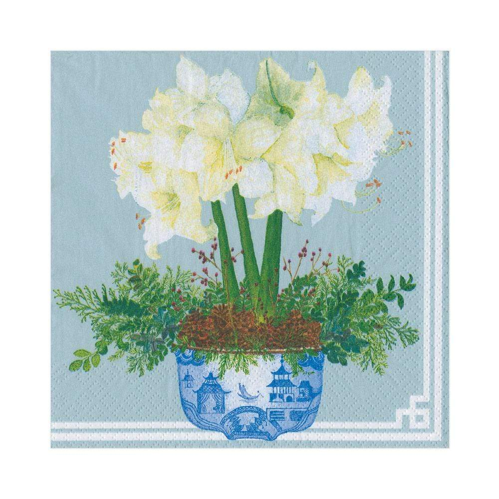 Caspari Potted Amaryllis Paper Luncheon Napkins in Pale Blue - 20 Per Package