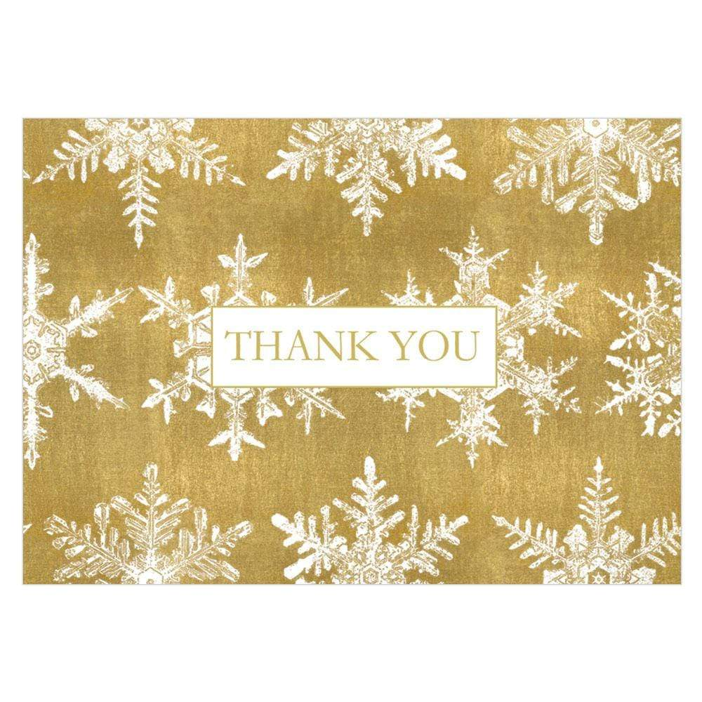 Caspari Falling Snow Thank You Notes in Gold - 8  Note Cards & 8 Envelopes