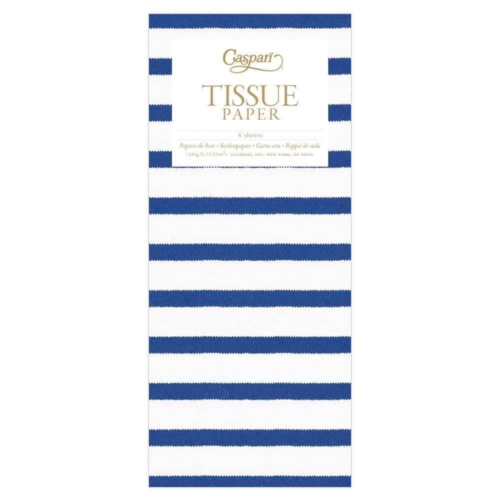 Caspari Bretagne Tissue Paper in Blue & White - 4 Sheets Included