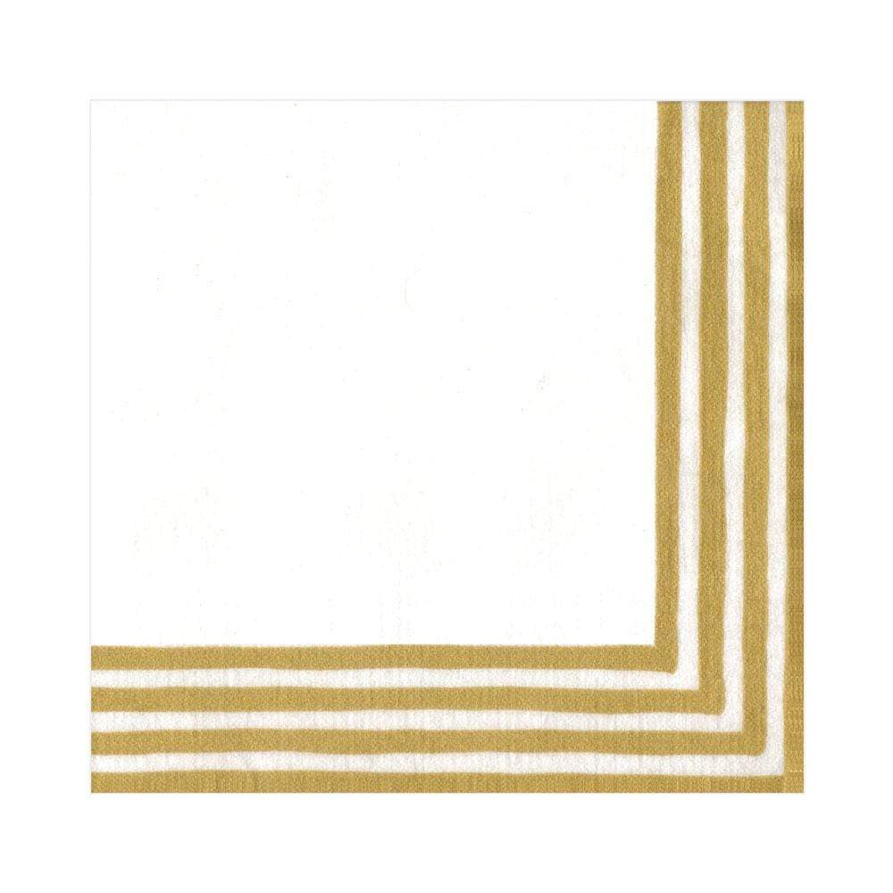 Caspari Border Stripe Paper Linen Luncheon Napkins in Gold & White - 15 Per Package