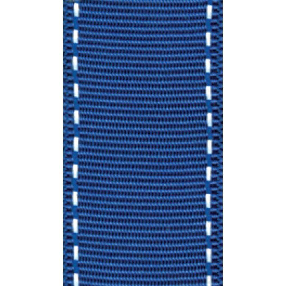 Marine Blue & White Grosgrain Wired Ribbon - 9 Yard Spool