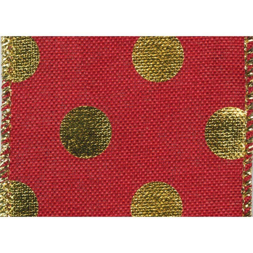 Wide Red Wired Ribbon with Gold Dots - 6 Yard Spool