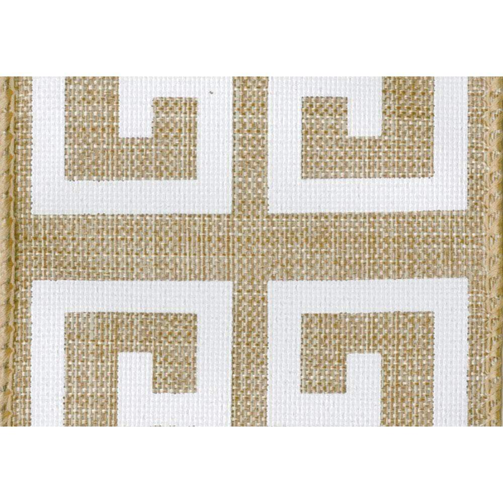 Natural & White Greek Key Wired Ribbon - 6 Yard Spool