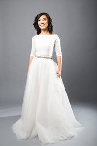 meghan top aniko skirt crepe bateau tulle wedding dress