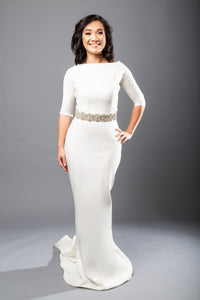 meghan top jayden skirt crepe bateau wedding dress