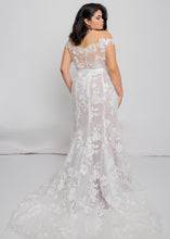 Load image into Gallery viewer, Gorgeous bridal gowns for all body shapes: plus size, curvy, or petite brides. Try on our wedding dresses at home. Size 0-30. Comfortable. Convenient. Fun. Lace or satin. Mermaid or A-line.  The soft lace pattern of this dress and the smooth, tailored fit would be sure to make jaws drop. This top and skirt can be customized by changing the lining between ivory, nude, or blush can completely change your look.