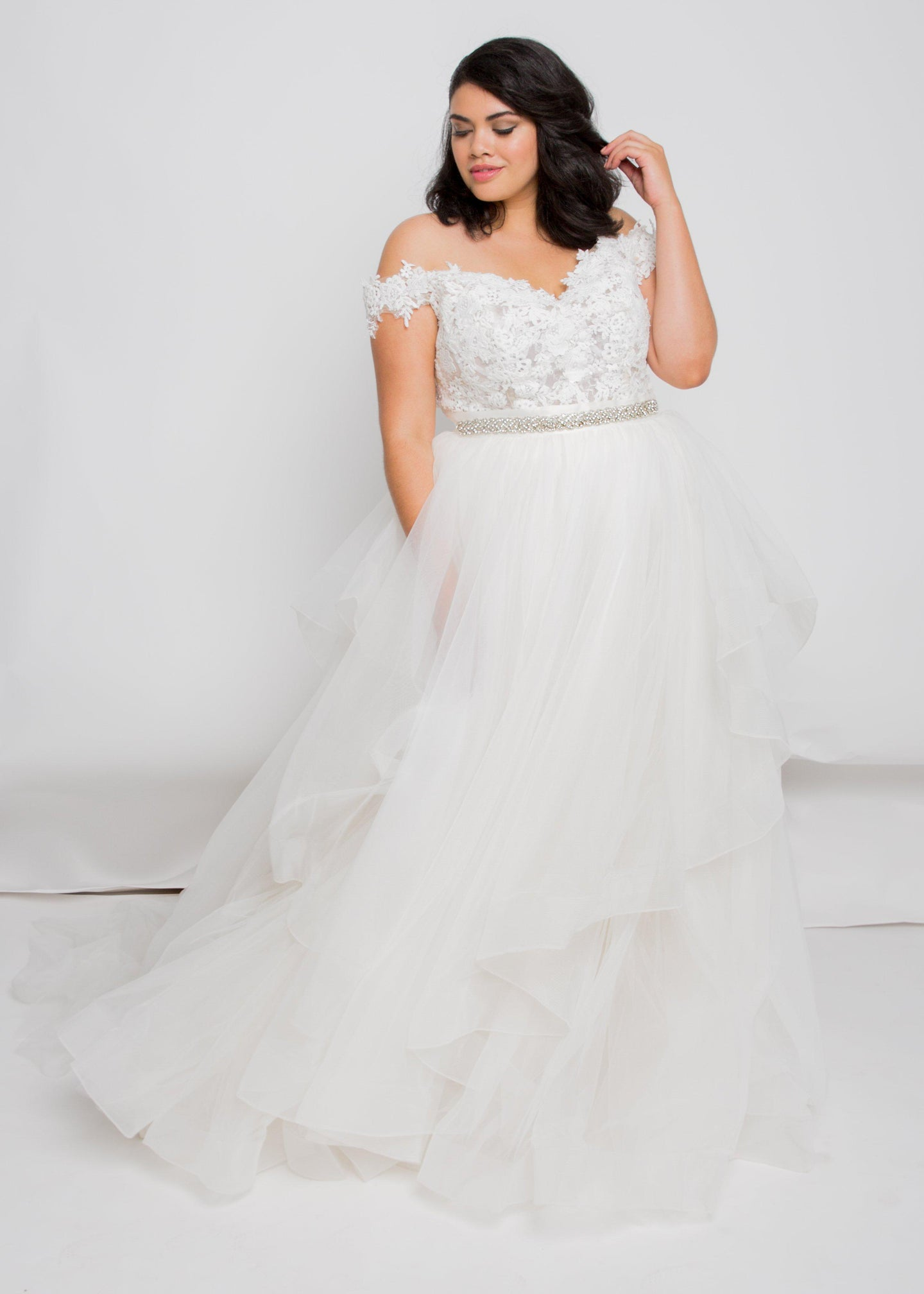 audie off the shoulder top matson skirt lace tulle wedding dress