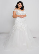 Load image into Gallery viewer, Gorgeous bridal gowns for all body shapes: plus size, curvy, or petite brides. Try on our wedding dresses at home. Size 0-30. Comfortable. Convenient. Fun. Lace or satin. Mermaid or A-line. From the off the shoulder neckline down to the tulle trumpet, this dress has something to admire at every inch.  The beautiful ivory lace pattern of this skirt draws down into a dramatic, romantic tulle trumpet that will figure-flatter and add interest.