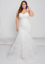 Load image into Gallery viewer, Gorgeous bridal gowns for all body shapes: plus size, curvy, or petite brides. Try on our wedding dresses at home. Size 0-30. Comfortable. Convenient. Fun. Lace or satin. Mermaid or A-line.The sweetheart top allows for further customization with off-the-shoulder sleeves.The way this lace pleating slims the body down into the beautifully-detailed lace trumpet is everything we would want in a skirt and more.