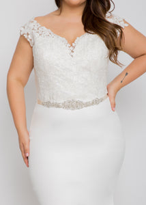Harper v neck top aria skirt trumpet lace wedding dress