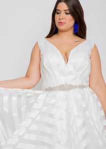 mia v-neck top mia skirt organza wedding dress