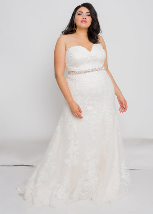 everly sweetheart top everly skirt lace trumpet wedding dress