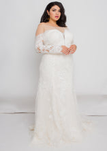 Load image into Gallery viewer, Gorgeous bridal gowns for all body shapes: plus size, curvy, or petite brides. Try on our wedding dresses at home. Size 0-30. Comfortable. Convenient. Fun. Lace or satin. Mermaid or A-line. The illusion off the shoulder silhouette and lace is a perfect pairing that will keep you feeling secure, comfortable, and beautiful. This immaculately detailed trumpet skirt will show off your curves without leaving you feeling constricted.