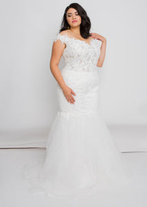 audie off the shoulder top audie skirt lace trumpet wedding dress