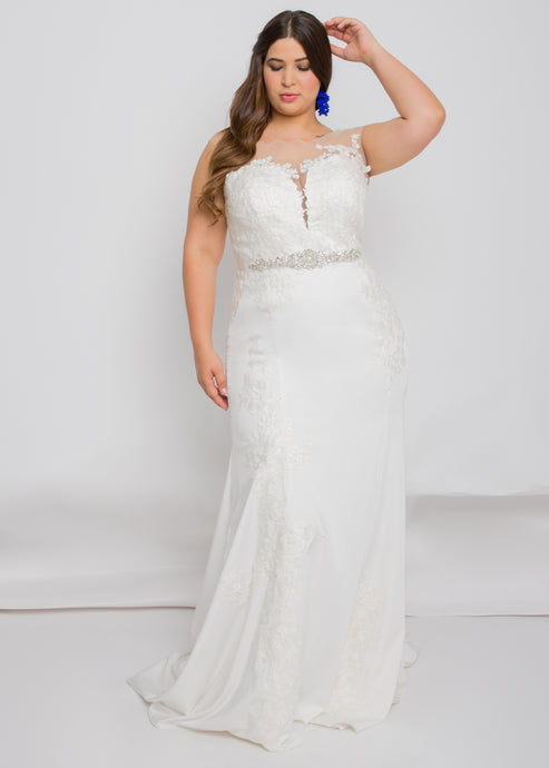 harper illusion top harper trumpet skirt lace wedding dress
