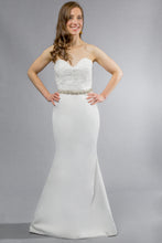Load image into Gallery viewer, Gorgeous bridal gowns for all body shapes: plus size, curvy, or petite brides. Try on our wedding dresses at home. Size 0-30. Comfortable. Convenient. Fun. Lace or satin. Mermaid or A-line.  Sweet lace lends a romantic air to fitted satin, as the relaxed mermaid skirt carries the allure of the dress all the way to the floor. This sweetheart top, with its textured lace details, has hooks that allow you to customize further with the addition of sleeves.