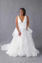 Load image into Gallery viewer, aldin top matson skirt satin v-neck tulle wedding dress