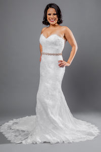 Gorgeous bridal gowns for all body shapes: plus size, curvy, or petite brides. Try on our wedding dresses at home. Size 0-30. Comfortable. Convenient. Fun. Lace or satin. Mermaid or A-line. This sweetheart top, with its textured lace details, has hooks that allow you to customize further with the addition of sleeves. This fit and flare skirt is complemented by the soft lace detailing, which extends all the way to the eyelash lace hem.
