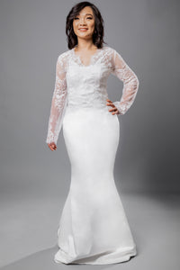 Gorgeous bridal gowns for all body shapes: plus size, curvy, or petite brides. Try on our wedding dresses at home. Size 0-30. Comfortable. Convenient. Fun. Lace or satin. Mermaid or A-line. This topper combination perfectly showcases the beauty of a satin shine paired with delicate lace.Long sleeve v-neck lace topper that can be added to any top you wish to add that pop of lace you have been wishing for. Soft satin mermaid skirt that will not fail to flatter your body.