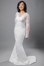 Load image into Gallery viewer, Gorgeous bridal gowns for all body shapes: plus size, curvy, or petite brides. Try on our wedding dresses at home. Size 0-30. Comfortable. Convenient. Fun. Lace or satin. Mermaid or A-line. This topper combination perfectly showcases the beauty of a satin shine paired with delicate lace.Long sleeve v-neck lace topper that can be added to any top you wish to add that pop of lace you have been wishing for. Soft satin mermaid skirt that will not fail to flatter your body.