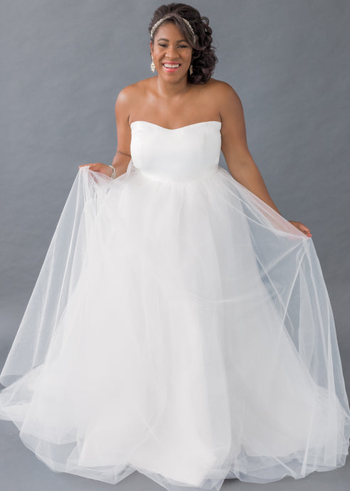 farai top aniko skirt sweetheart strapless satin wedding dress