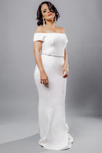 Load image into Gallery viewer, Gorgeous bridal gowns for all body shapes: plus size, curvy, or petite brides. Try on our wedding dresses at home. Size 0-30. Comfortable. Convenient. Fun. Lace or satin. Mermaid or A-line. The off-the-shoulder sleeves lend a modern, on-trend twist to the combination. This crepe off-the-shoulder top offers a graceful and poised look that will look beautiful paired with any skirt. The crepe sheath column skirt is elegant, shining, and will make your legs look as if they are miles long.