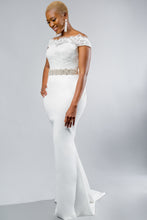 Load image into Gallery viewer, kylar top jayden skirt lace satin crepe wedding dress
