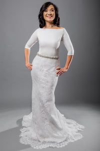 Gorgeous bridal gowns for all body shapes: plus size, curvy, or petite brides. Try on our wedding dresses at home. Size 0-30. Comfortable. Convenient. Fun. Lace or satin. Mermaid or A-line. This crepe bateau-neck top gives polish to any look and offers extra coverage with its three-quarter length sleeves. The lace fit and flare skirt has new details hidden in between each of its pleats.