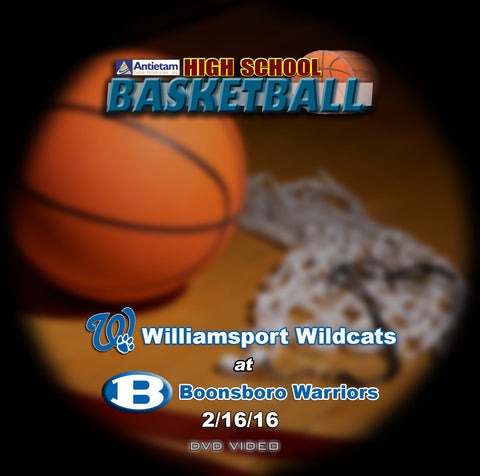 2016 High School Basketball-Williamsport at Boonsboro- DVD (Boys)