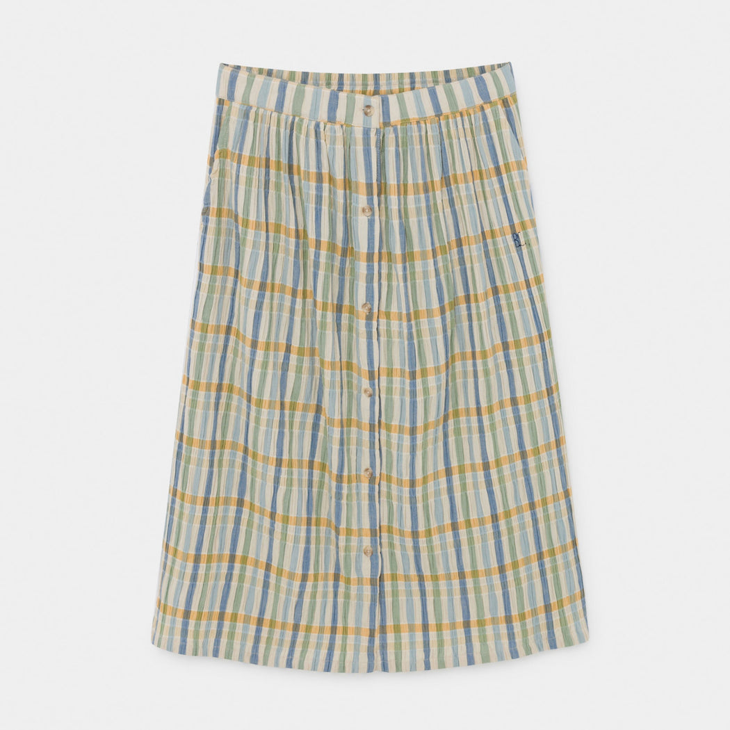 Checker Buttons Midi Skirt