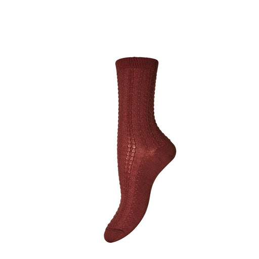 Dusty Brick Textured Wool Socks