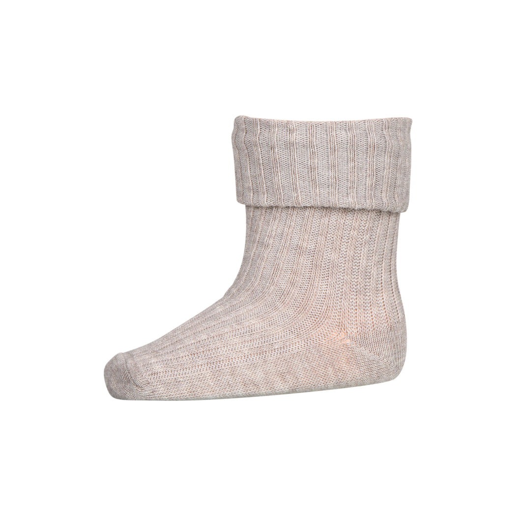 Oatmeal Cotton Rib Baby Socks