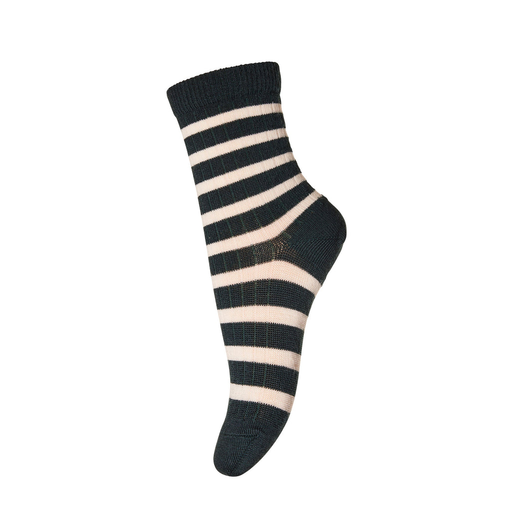 Forest Green Stripe Wool Socks
