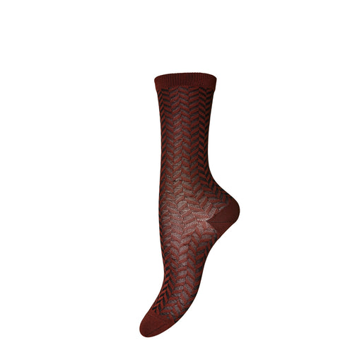 Brick Brown Chervon Stripe Socks