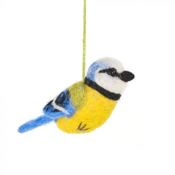 Felt Blue Tit Hanging Decoration