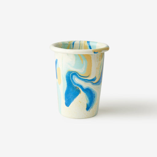 Lemon Cream Marble Enamel Tumbler