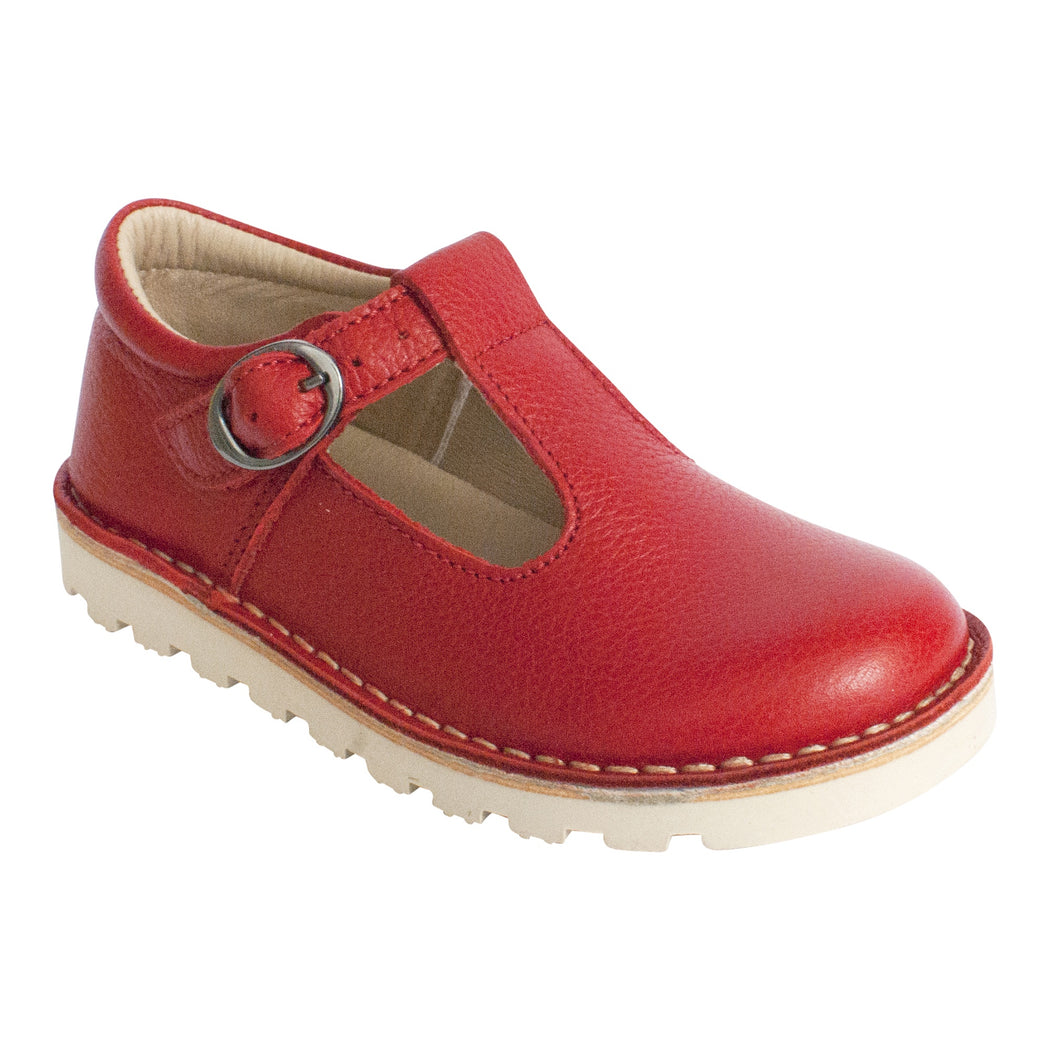 Petasil Cindy Classic Red Leather Kids T-Bar Buckle Shoes