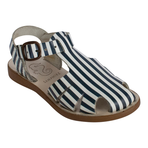 Navy Striped Closed Toe Kids Sandals